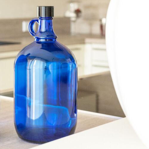 Gallone Gärballon Henkelflasche Wein Wasser 2L Glasballon Flasche 2 Liter blau