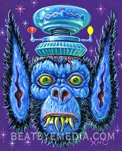 XNO-Original-Art-Com-ic-Art-Comix-monst-er-horror-ALIEN-OUTER-SPACE-rat-fink