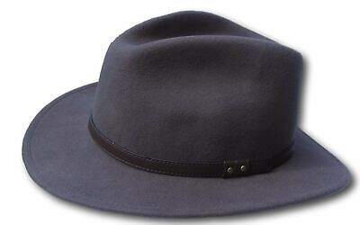 Umoristico High Quality Grey Wide Brim 100% Wool Felt Fedora Trilby Hat - Medium Sconti Prezzo