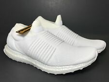 c61e49ba8b588 Adidas Mens Sz 8.5 Laceless Ultra Boost Primeknit Triple White Shoes S80768