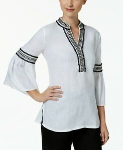 Charter-Club-Women-039-s-Bell-Sleeve-Bright-White-Top-NWD-9003446-Size-L