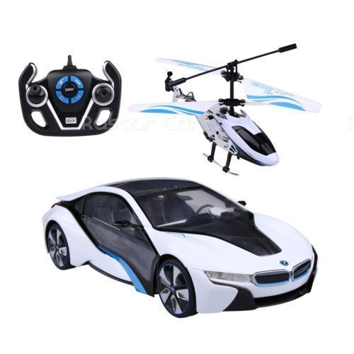 1 14 Speed Twins BMW i8 Car & Helicopter Radio Remote Control Controlled RC Toy