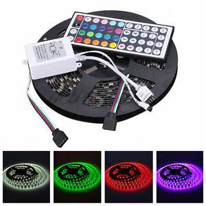 12V-5M-Black-PCB-IP65-Waterproof-5050-SMD-RGB-300-LED-Strips-44-KEY-IR-Remote