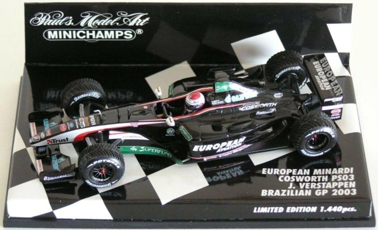 Wow extremadonnate raro Minardi PS03 Ford Verstappen Brasil 2003 RT 1 43 Minichamps