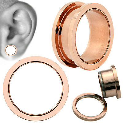 Rose Gold Screw On Surgical Steel Ear Tunnel Plugs