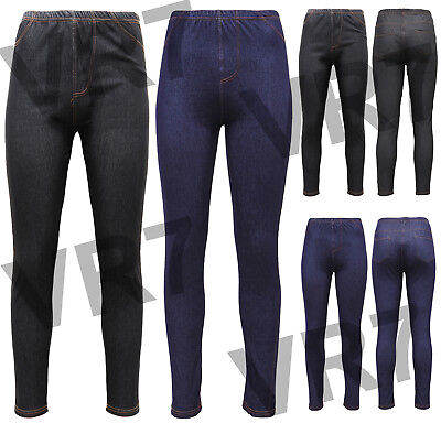 NUOVO Donna Donna Look Denim Elasticizzato Skinny Jeggings Leggings 8-14