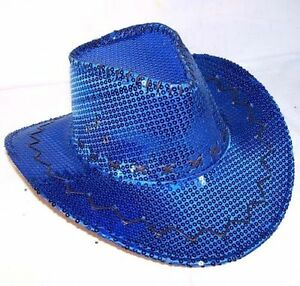 BLUE SEQUIN COWBOY HAT western hats dance party items mens women cap cowgirl