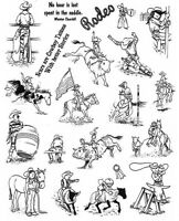 Unmounted Rubber Stamp Sheets, Horse Stamps, Rodeo, Cowboy, Bull Riding, Western