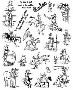 Unmounted Rubber Stamp Sheets Horse Stamps Rodeo Cowboy