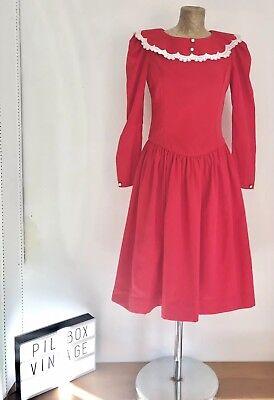 1980s Vintage Red-collare Dettaglio-a Maniche Lunghe Abito Taglia 10-mostra Il Titolo Originale Facile Da Riparare