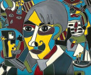Patricia-Kleyman-Tableau-Unique-73cmx60-034-Picasso-revait-d-039-un-Monde-en-Paix-034