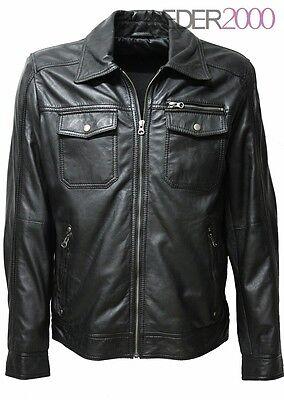 herren lederjacke echt lammnappa weich schwarz brusttaschen hemdkragen ebay. Black Bedroom Furniture Sets. Home Design Ideas