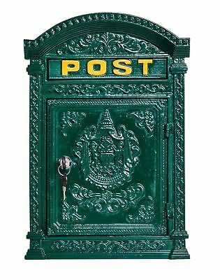 ZuverläSsig Briefkasten Wandbriefkasten Eisen Massiv Nostalgie Postkasten Grün Antik-stil VerrüCkter Preis Bauelemente Antiquitäten & Kunst