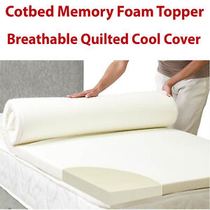 best loved 48e12 31e18 Details about New Memory Foam Cot Bed Mattress Topper Orthopaedic  Breathable Cool Cover Cotbed