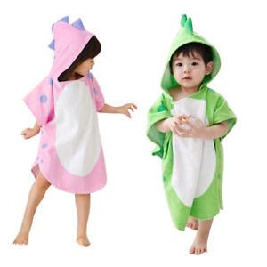 Details about Children Kids Boy Girl Hooded Poncho Swim Beach Bath Towel  Bathrobe Pink Green