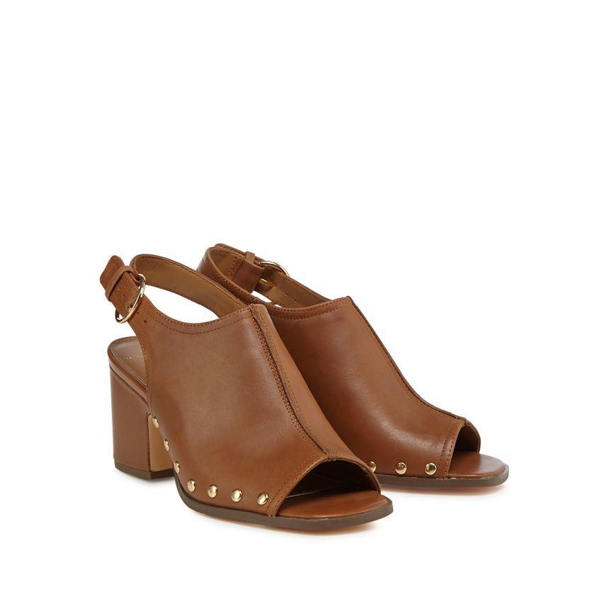 BNIB Jasper Conran Tan marron Leather Peep Toe Slingback Mid Heel Sandals Sz 6 39
