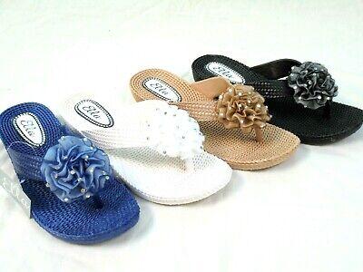 Femme ELLA Bleu Marine Fleur toe post sandals Low Wedge Flip Flops Taille 3-8