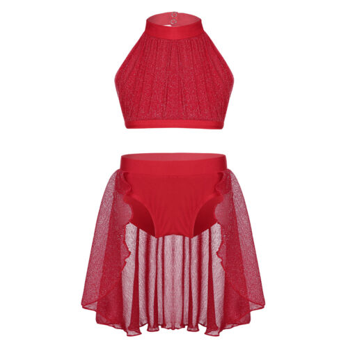 Girls Kid Lyrical Dance 2PCS Leotard Dress Ballet Sequins Crop Top+Skirt Costume