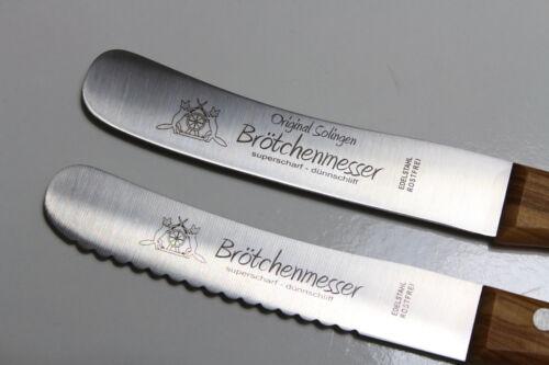 """2 X ORGINAL SOLINGER FUCHS /""""BUCKELS/"""" Brötchenmesser Buckelmesser"""