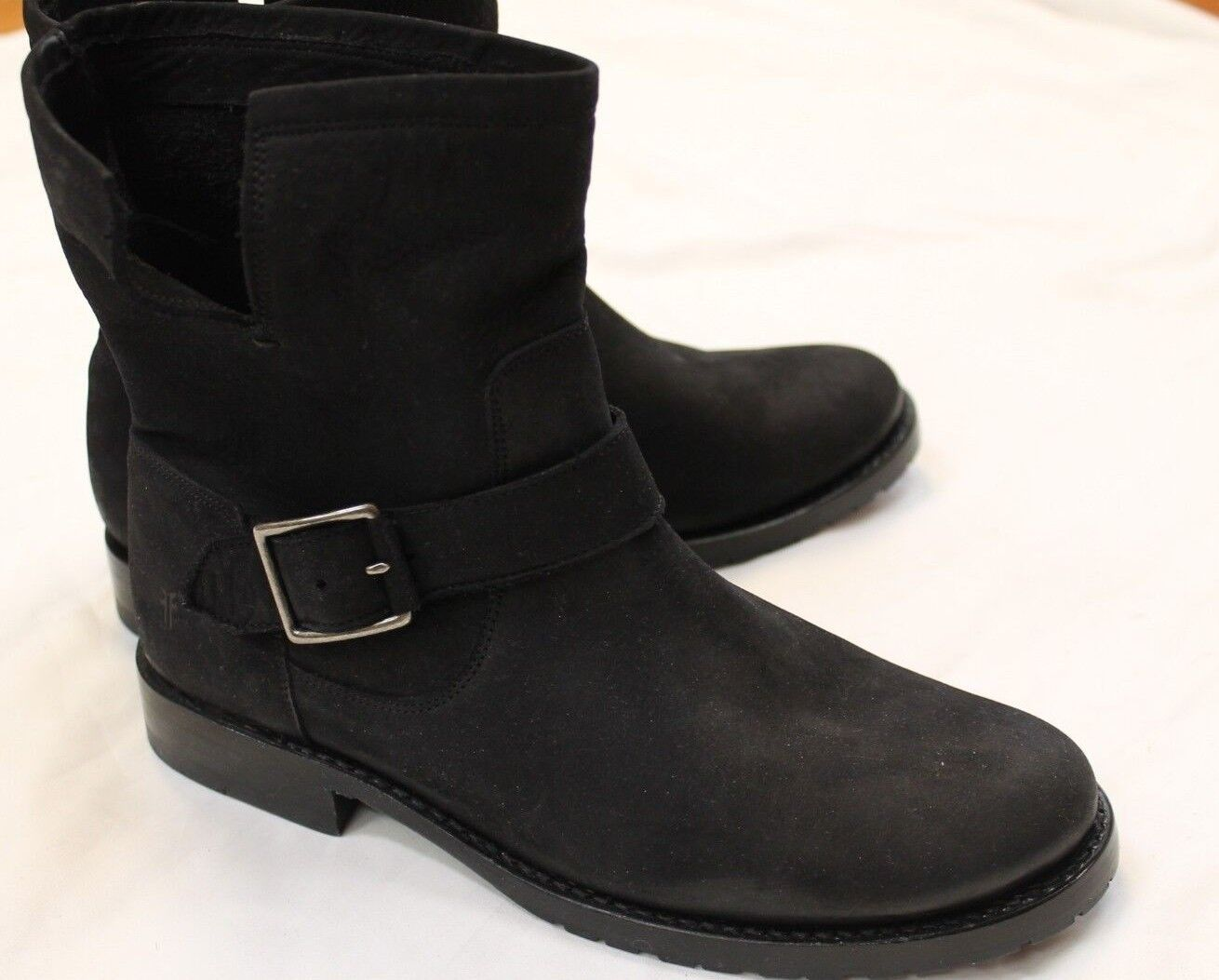 NEW Frye Black Side Buckle Riding Boots Short Flats shoes 8.5 M  348