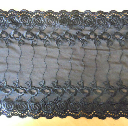 "3.3 yards 8.5"" Wide Stretch Black Lace with Black Embroidered Floral 836"