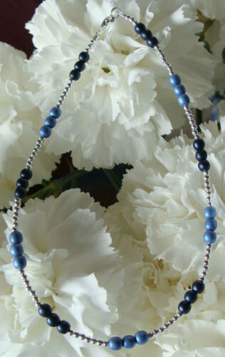 Dark & Light Blue Silver Bracelet/Ankle Bracelet (2802)