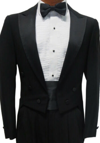 41R Black Peak Lapel Tuxedo Tailcoat Package Debutante Tails White Tie Attire