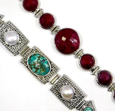 """Ruby Clutch Lock Cuff Bracelet 925 Sterling Silver Jewelry 2.3/"""" /& 3/""""MB1323"""