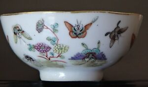 Antique-bol-en-porcelaine-chinoise-Papillon-fencai-Guangxu-Mark