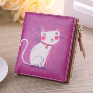 Vintage-Coin-Purse-For-Women-039-s-Cartoon-Cat-Ladies-Wallets-Money-Card-Holders-New