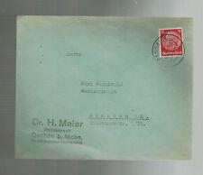 1938 Dachau Germany Attorney Dr H Maier Cover to Munich