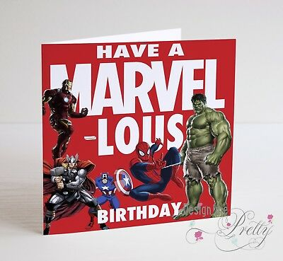 Boys Mens Son MARVEL COMICS HULK THOR IRON MAN SPIDERMAN Birthday Card
