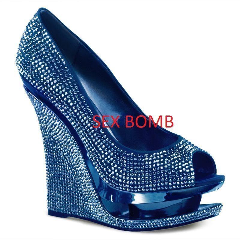 SEXY shoes blue spuntate strass doppio plateau tacco 14 DAL 35 A 42 fashion GLAM