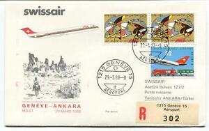 IngéNieux Ffc 1988 Swissair Special Flight Geneve Ankara Turkei Registered Helvetia