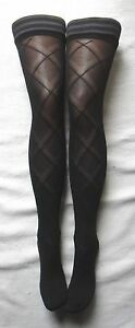 BLACK-PLAID-OPAQUE-HOLD-UP-STOCKINGS-SILICON-LYCRA-TARTAN-CHECK-VINTAGE-LOOK