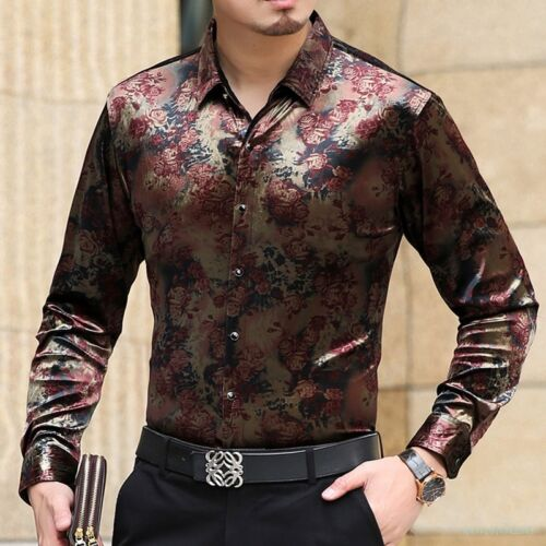 Fashion Mens Silk Velevt Floral Casual Shirts Business Slim Dress Floral Tops 18