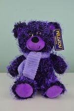 "Kellytoy Purple Bear w/ Scarf 9"" Two Tone Needle Plush Stuffed Animal w/Tags"
