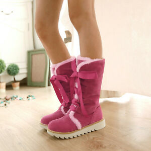 Comfortable Warm Womens Suede Flat Round Toe Mid-calf Winter Snow Boots GT-133