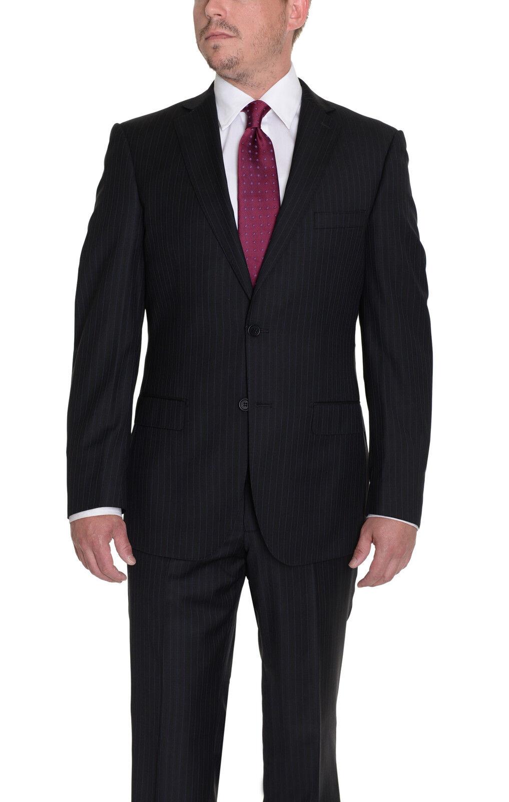 Moderne Passen Schwarze Nadelstreifen Super 45.7ms Zwei Knöpfe Woll-Anzug