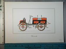 Rare Orig VTG Dos A Dos Auto Transportation Color Litho Antique Car Art Print