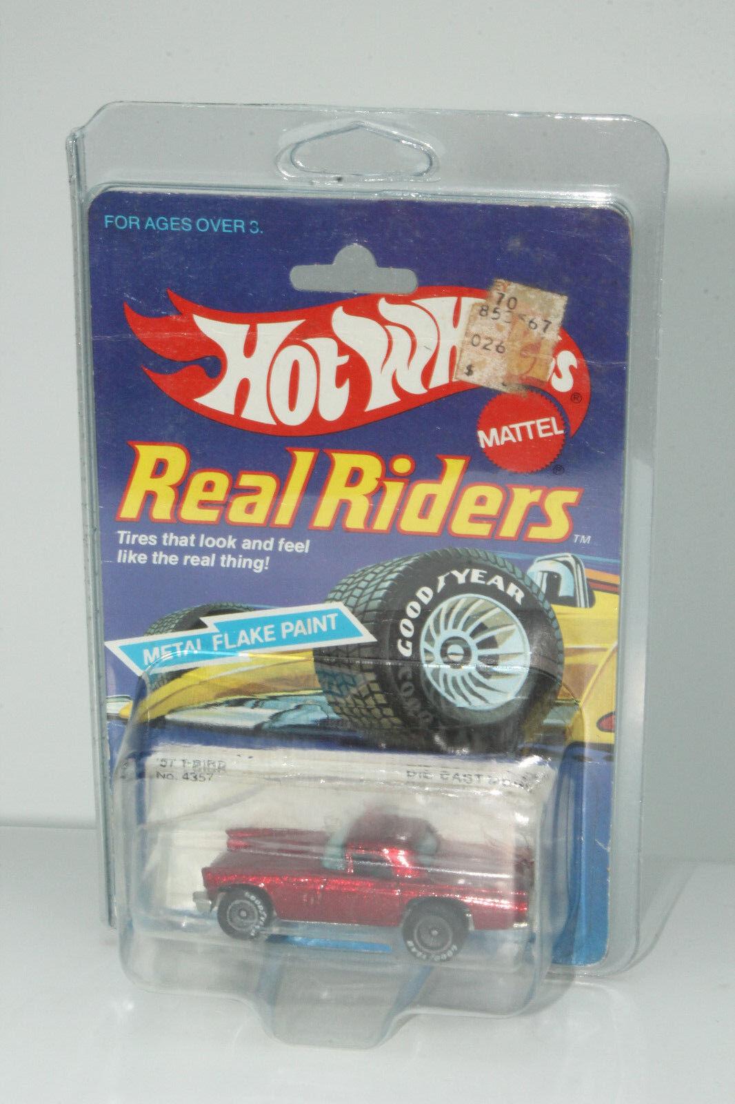 Hot Wheels Echten Fahrern '57 T-Bird,Metallisch Rot, Grau Fahrern, Neu auf Karte