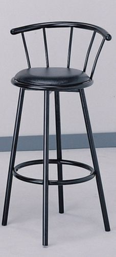 Set Of 2 Chrome Plated Metal Black Swivel Vinyl Leather Seat Pub Bar Stools Ebay