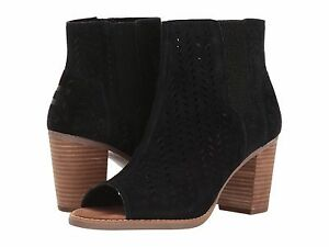 81423d034a7 TOMS WOMEN FASHION BOOTIES MAJORCA PEEP TOE BLACK SUEDE PERFORATED ...