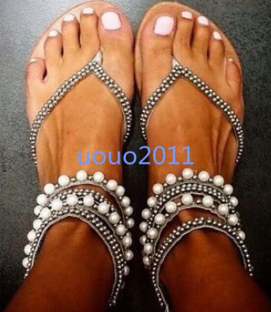 US Talla 4-11 mujer Flats Rhinestones Thong Roma Sandals Fashion Casual zapatos