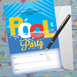 Details About Pool Party Invitations Swimming Birthday X 8 With Envelopes