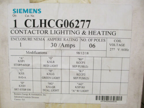 Siemens CLHCG06277 Enclosed Lighting And Heating Contactor New Surplus