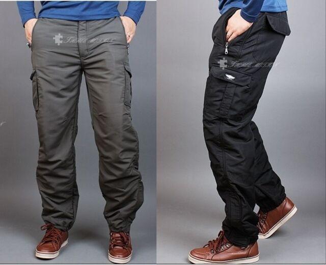 WINTER Men's cargo pants fishing waterproof lined thermal work trousers fatigue