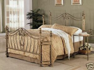 Beautiful Brushed Gold Queen Iron Bed Bedroom Furniture Ebay