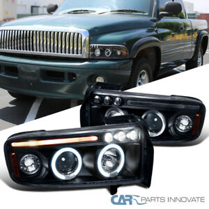 For-Dodge-94-01-Ram-1500-2500-3500-LED-Halo-Projector-Headlights-Lamp-Black-Pair