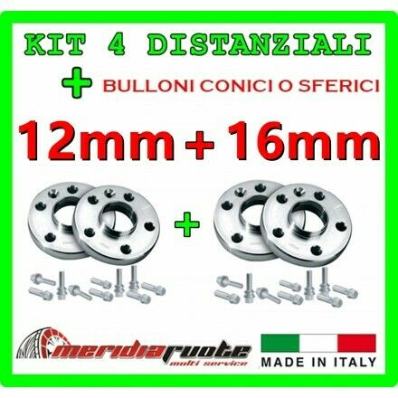 16mm KIT 4 DISTANZIALI PER FIAT CINQUECENTO 170 1996-2004 PROMEX ITALY 12mm